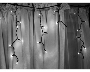 Уличная гирлянда Белая бахрома с мерцанием белых огней 3 метра 100 LED Черный кабель