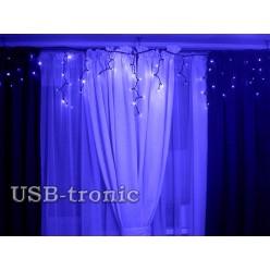 Уличная гирлянда Синяя бахрома с мерцанием белых огней 3 метра 100 LED Черный кабель