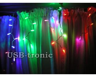 """Уличная гирлянда """"Цветная бахрома 30-60 см"""" 3 метра 100 LED  Белый провод"""