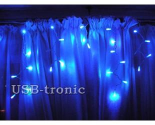 """Уличная гирлянда """"Новогодняя бахрома"""" Синий свет 30-60 см"""" 3 метра 100 светодиодов Белый провод"""