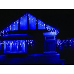 """Гирлянда для фасада здания """"Светодиодная бахрома"""" 25 метров Синий свет Белый провод с миганием белых"""