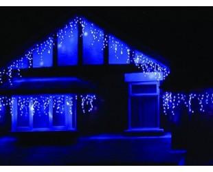 """Уличная гирлянда для фасада здания """"Светодиодная бахрома"""" 25 метров Синий свет с миганием белых Белый провод 1000 LED"""