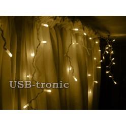 """Уличная гирлянда """"Тепло белая бахрома 30-60 см"""" 3 метра 100 LED  Белый провод"""