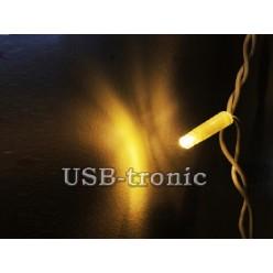 Гирлянда уличная Светодиодная бахрома Теплый белый свет 30-60 см 3 метра Белый кабель без мигания