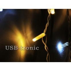 Гирлянда уличная Светодиодная бахрома теплый белый свет с мерцанием белых огней 5 метров 200 LED Белый провод