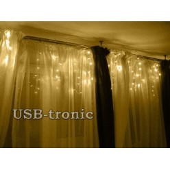 Гирлянда WT Светодиодная бахрома 20-30 см 160 LED Золотой свет Прозрачный провод 2,5 метра