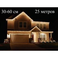Гирлянда уличная Желтая бахрома 25 метров для фасада дома нитки 30-45-60 см Белый кабель