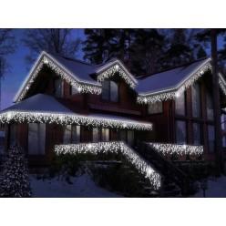 Гирлянда для фасада дома Светодиодная белая бахрома 25 метров Белый провод 30-45-60 см