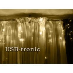 Гирлянда для фасада дома Светодиодная бахрома 30-45-60 см 25 метров Теплый белый свет Белый провод