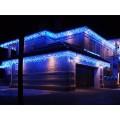 Гирлянда для фасада здания Светодиодная бахрома 25 метров Синий свет Белый провод с миганием белых