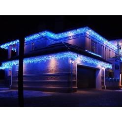 Гирлянда для фасада здания Светодиодная бахрома 25 метров Синий свет Белый провод с миганием 30-60 см