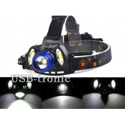 Налобный аккумуляторный фонарь HL-150-b с 3 мощными светодиодами
