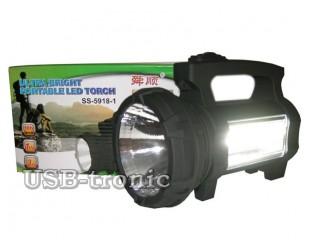 Ручной аккумуляторный фонарь SS-5918-1 светодиоды LED 1W и COB 3W