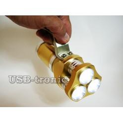 Ручной аккумуляторный фонарь прожектор HL-633-T6 Мощный светодиод Cree T6  3 x 18560 Металлический корпус