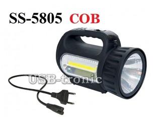 Светодиодный ручной аккумуляторный фонарь SS-5805 прожектор 1 W и COB светильник