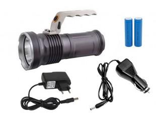 Ручной светодиодный аккумуляторный фонарь с зумом (ZOOM) 2 аккумулятора 18650 Металлический корпус Зарядка от сети