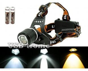 Налобный фонарь HL-2199-3 ZOOM Белый и желтый светодиоды 2 аккумулятора18650