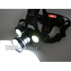 Налобный аккумуляторный фонарь MX-T09-T6 мощные светодиоды XML и COB