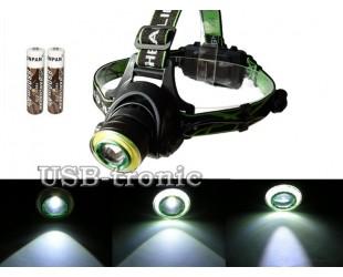 Налобный светодиодный фонарь HL-T107 T6+COB с 2 аккумуляторами 18650