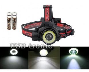 Налобный фонарь HL-WT01 T6+COB с 2 аккумуляторами 18650