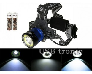 Налобный светодиодный фонарь H T-597 T6+COB с 2 аккумуляторами 18650