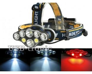 Мощный аккумуляторный налобный фонарь T592 8 светодиодов 2 аккумулятора 18650
