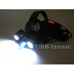 Налобный аккумуляторный фонарь HL-T200 3 фары светодиоды T6 и COB