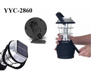 Кемпинговый аккумуляторный фонарь YYC-2860 с динамо и солнечной батарей