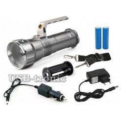 Светодиодный аккумуляторный фонарь с ручкой HL-677 2 x 18560 Металл