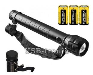 Ручной фонарь на 3 батарейки D Модель 1301 Металлический корпус 30см