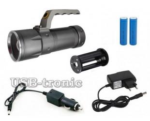 Ручной светодиодный аккумуляторный фонарь HL-3406 2 аккумулятора 18650 Металлический корпус Зарядка от сети