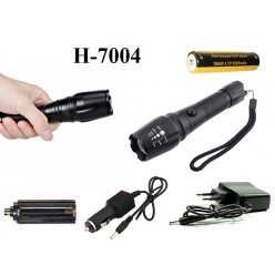 Ручной аккумуляторный фонарь H-7004 светодиод Cree T6 1 x 18560 Металлический корпус
