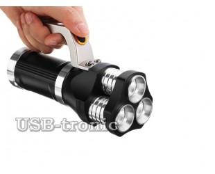 Ручной аккумуляторный фонарь прожектор HL-633-T6 3 x 18560 Мощные светодиоды Металлический корпус