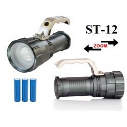 Ручной аккумуляторный фонарь прожектор ST-12 Светодиод Cree XM-L T6  3 x 18560