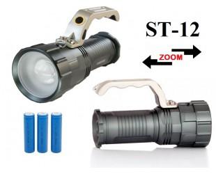 Аккумуляторный ручной фонарь прожектор ST-12 Светодиод Cree XM-L T6 Металлический корпус 3 x 18560