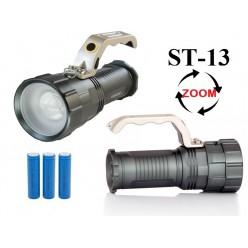 Ручной аккумуляторный фонарь прожектор ST-13 Мощный светодиод Cree T6  3 x 18560 Металлический корпус