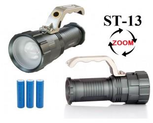 Аккумуляторный ручной фонарь прожектор ST-13 Мощный светодиод Cree T6 3 x 18560 Металлический корпус