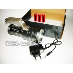 Ручной аккумуляторный фонарь прожектор JIN-805M-T6  3 x 18560 Металлический корпус