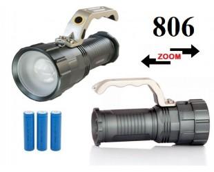 Аккумуляторный ручной фонарь прожектор JIN-806M-T6 3 x 18560 Светодиод Cree XM-L T6 3 x 18560