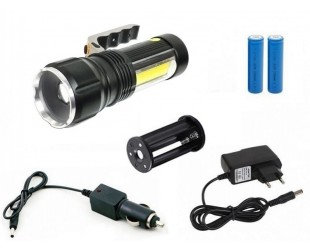 Ручной аккумуляторный фонарь H-3402 COB 2 аккумулятора 18650