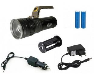 Светодиодный ручной фонарь с зумом H-458-T6 2 аккумулятора 18650 Зарядка от сети