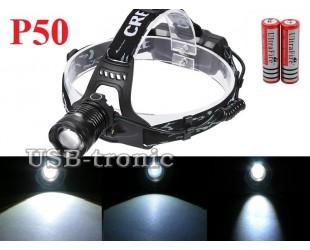 Налобный фонарь Огонь H-722-P50 светодиод XHP50 аккумуляторы 2x18650