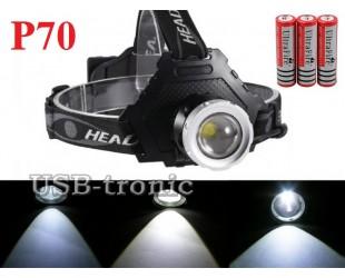 Мощный налобный фонарь P-8070 светодиод XH P70 аккумуляторы 3x18650