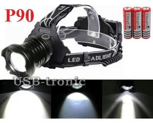 Яркий налобный фонарь Р-8090 светодиод XH P90 аккумуляторы 3x18650