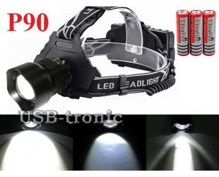 Мощный налобный фонарь P-V69-P90 светодиод P90 аккумуляторы 3x18650