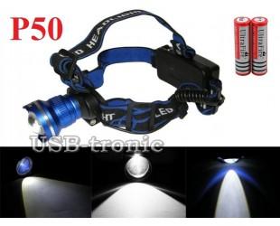 Мощный аккумуляторный налобный фонарь GL-24 светодиод XH P50 2x18650 Цена 999 руб