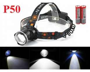 Яркий налобный фонарь JIN-24M-P50 светодиод XH P50 аккумуляторы 2x18650