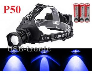 Синий налобный фонарь YYC T50-2 светодиод P50 3x18650