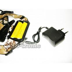Фонарь налобный HT-650 с 2 аккумуляторами 18650