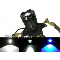 Синий светодиодный налобный фонарь YT-K12-2 аккумуляторный блок на 2 батарейки 18650